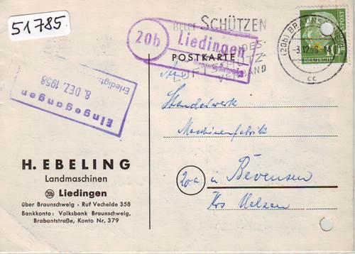 Bahnpoststempel 1958 Braunschweig Kreiensen Auf Ansichtskarte Sammlung Beleg Diverse Philatelie